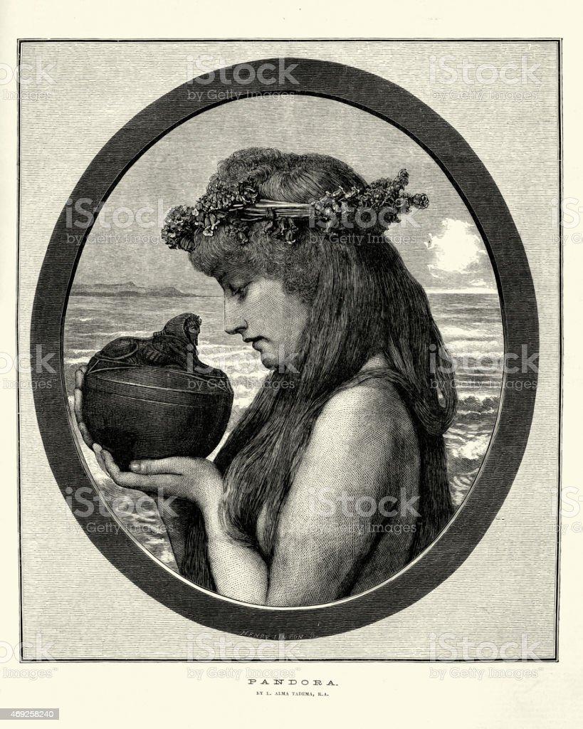 Greek mythology - Pandora nad her box vector art illustration