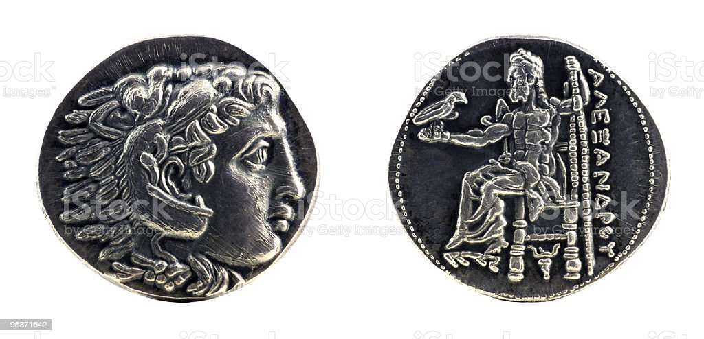 Greek silver tetradrachm from Alexander the Great royalty-free stock vector art