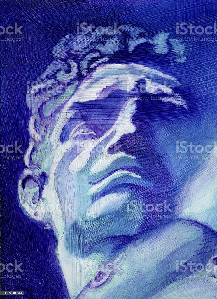 Greek Statue Painting vector art illustration