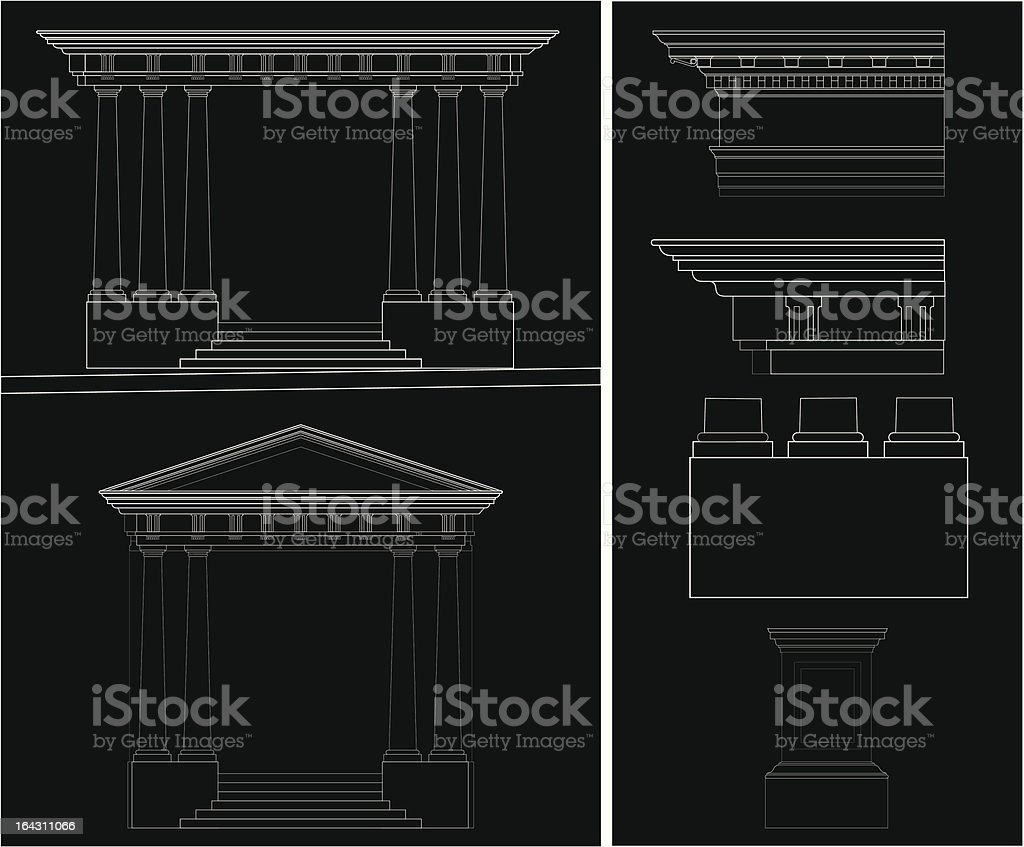 Greek Temple - Doric Styles royalty-free stock vector art