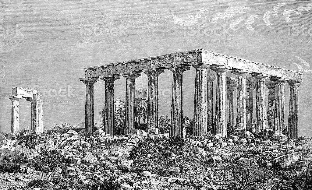 Greek temple ruins royalty-free stock vector art