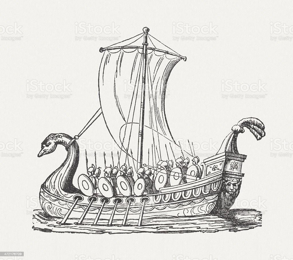 Greek Warship in the ancient world, published in 1864 vector art illustration