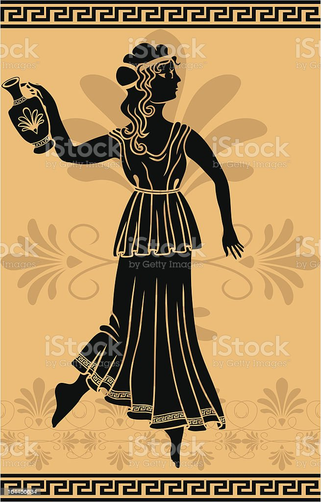 greek woman with amphora stencil royalty-free stock vector art