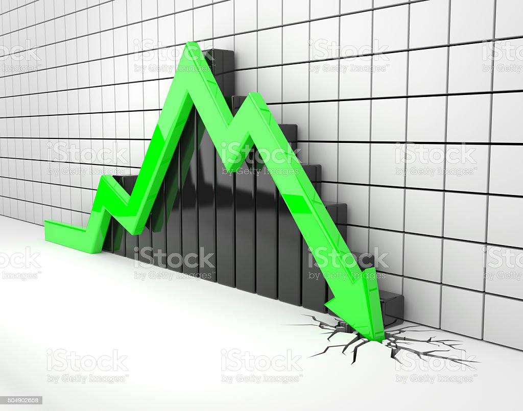 Green 3d arrow crash vector art illustration