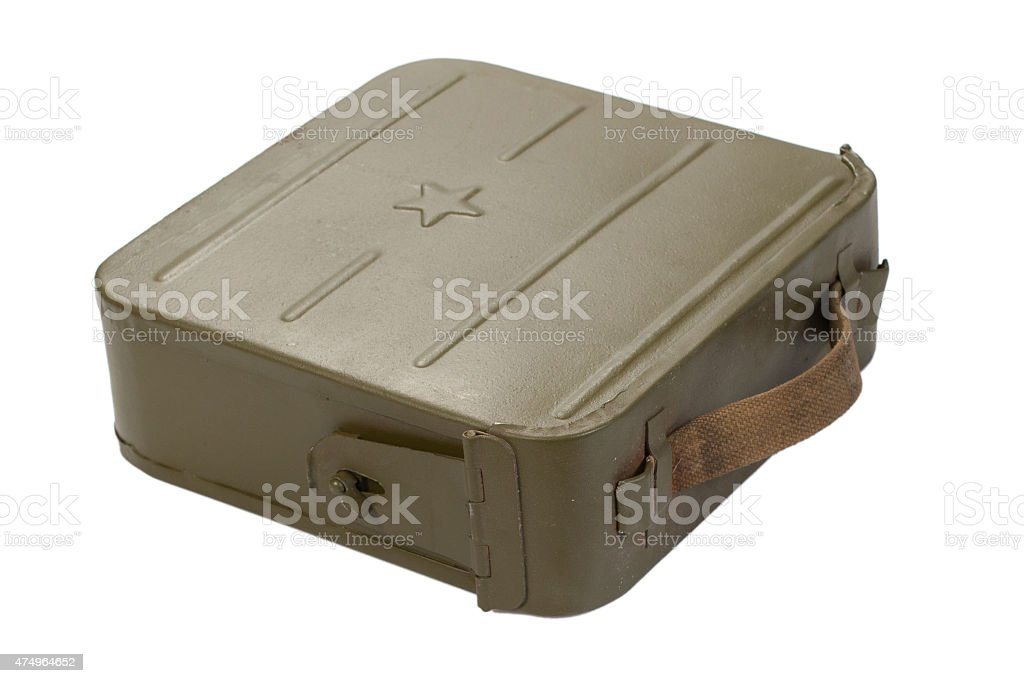 green ammo case on white background vector art illustration