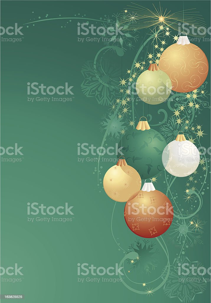 green and gold christmas balls royalty-free stock vector art