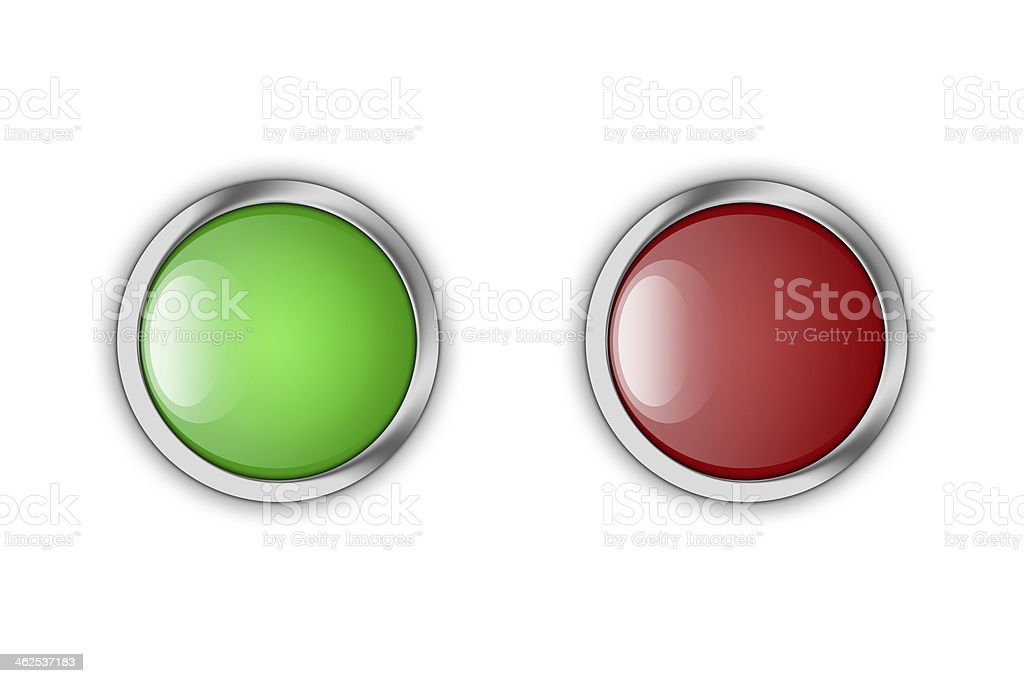 Green and red glossy buttons. vector art illustration