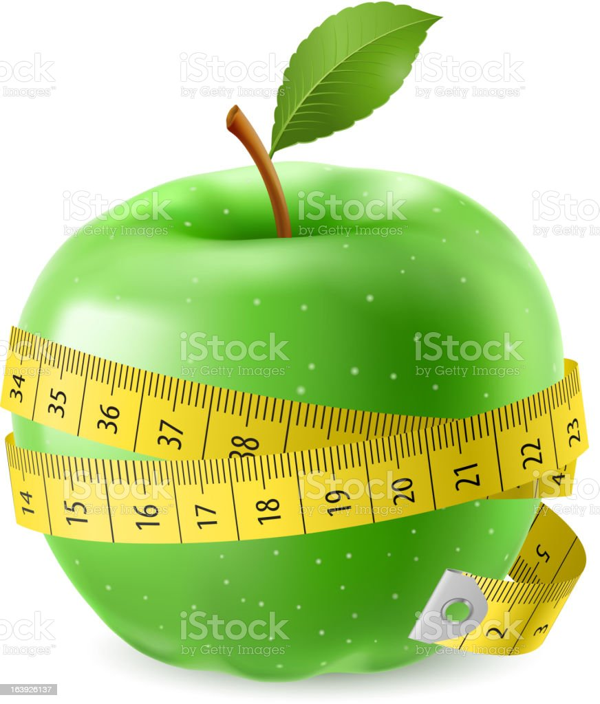 Green apple and measure tape royalty-free stock vector art