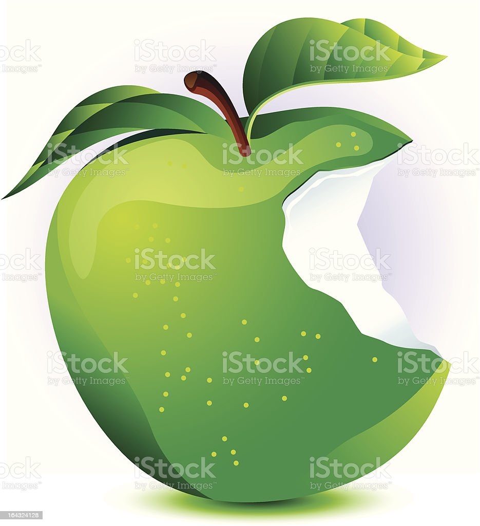 Green Apple with Bite Taken Out royalty-free stock vector art