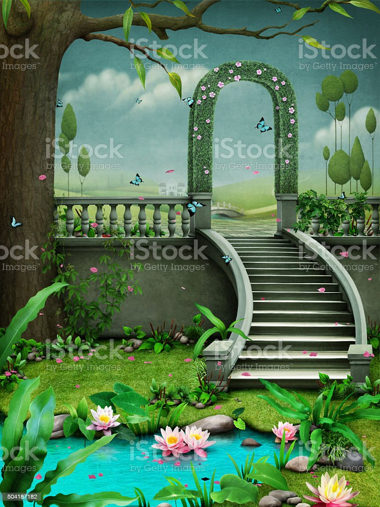 Green arch with stairs. vector art illustration