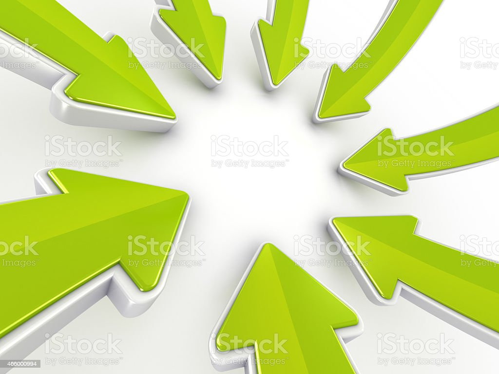 Green arrows pointing to center synergy merger -clipping path vector art illustration