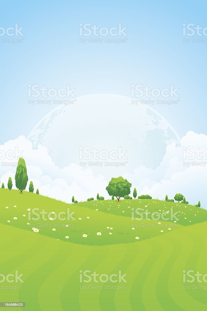 Green Background with Moon in the Sky royalty-free stock vector art