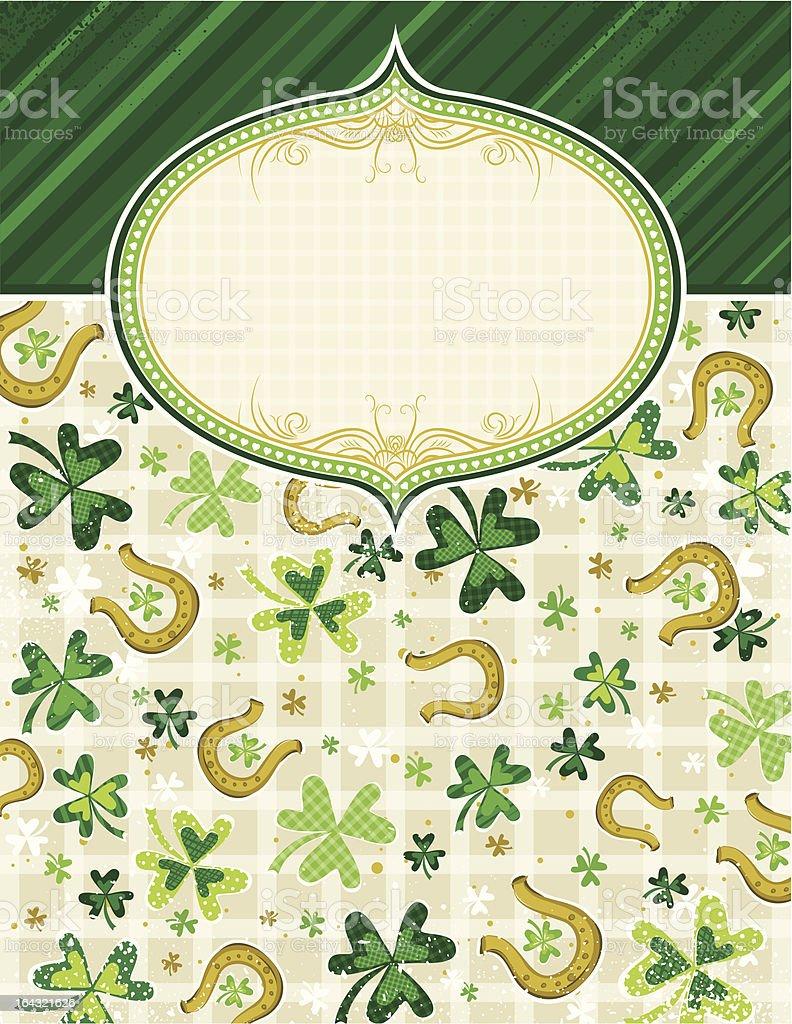 green background with shamrock and horseshoes vector art illustration