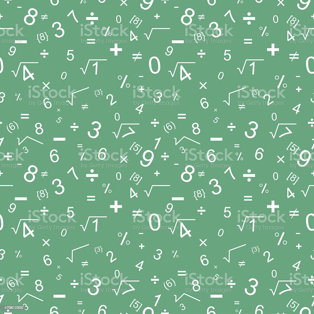 A green background with white numbers vector art illustration