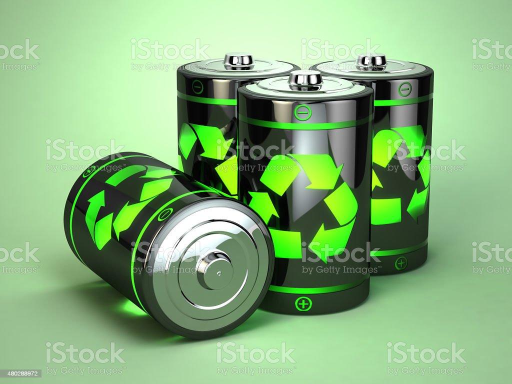 Green battery recycling concept. vector art illustration