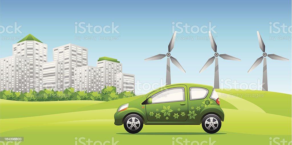 Green Car ECO vector art illustration