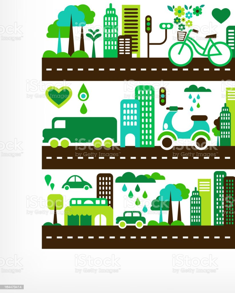 green city - environment and ecology vector art illustration