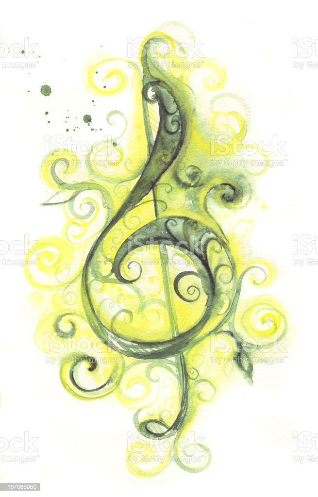 green clef royalty-free stock vector art