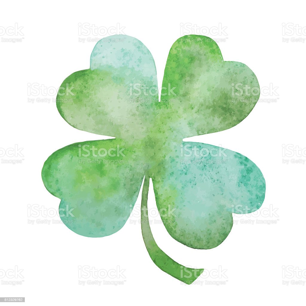 Green clover vector watercolor Illustration stock photo