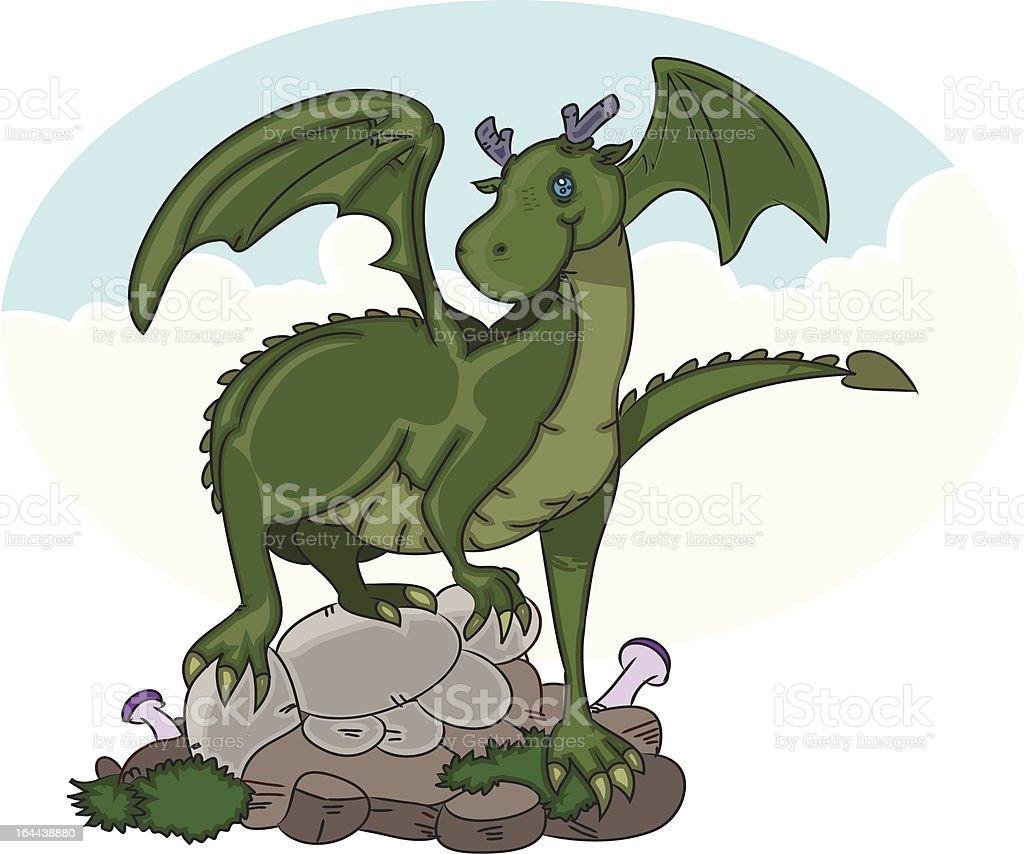 green dragon fantasy ccreature royalty-free stock vector art