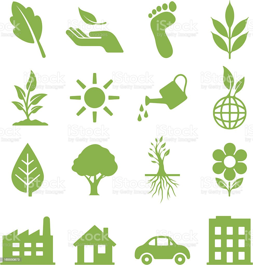 Green Ecology Icons vector art illustration
