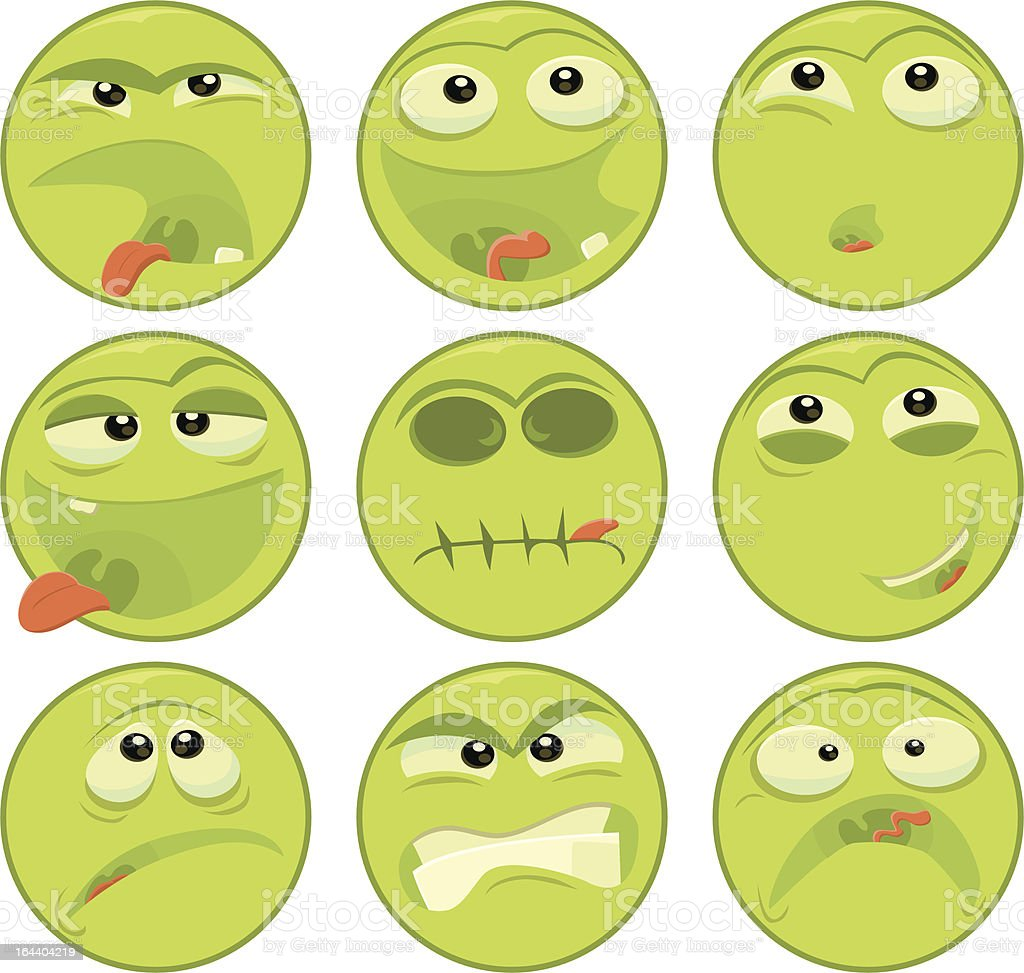 Green Face Emoticons royalty-free stock vector art