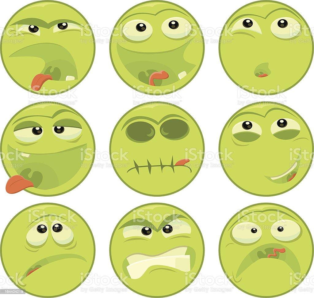 Green Face Emoticons vector art illustration