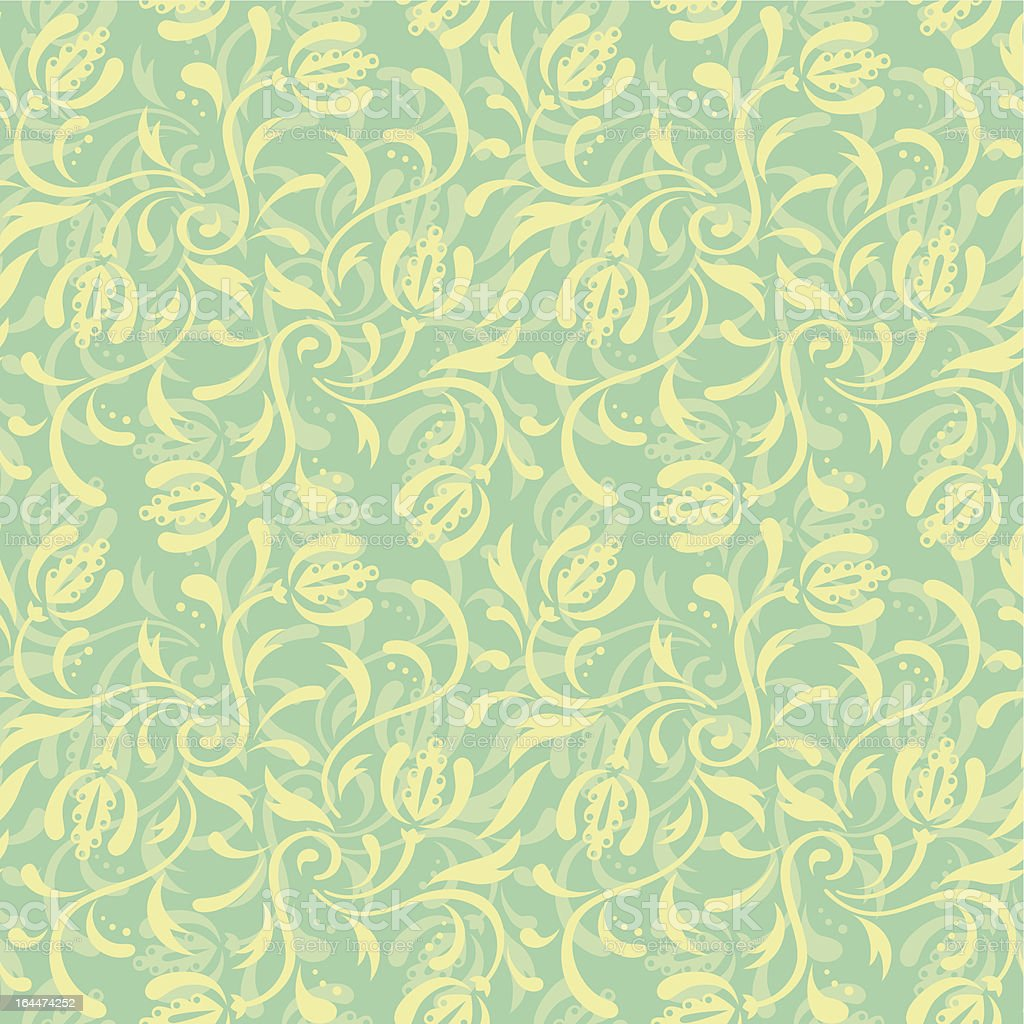 Green floral seamless pattern royalty-free stock vector art