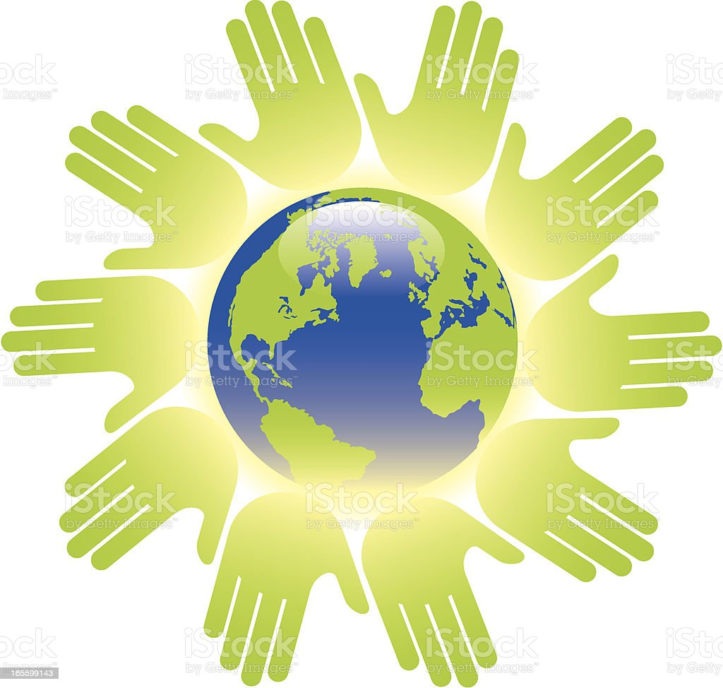Green global hands royalty-free stock vector art