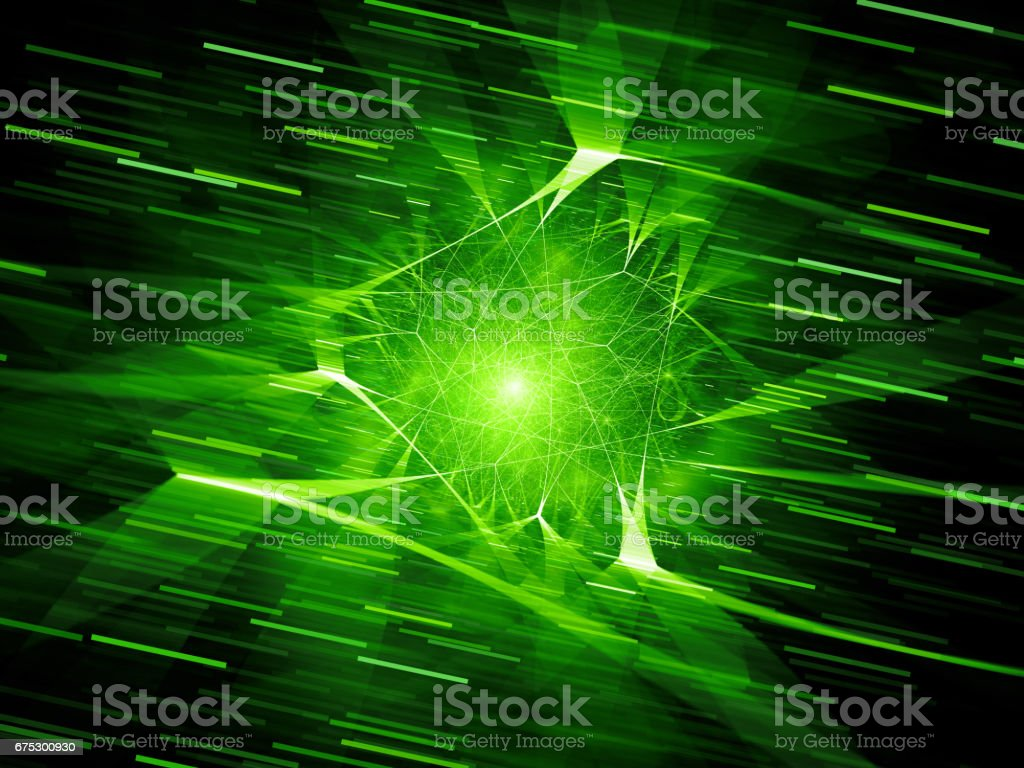 Green glowing futuristic network connections in space with motion lines vector art illustration