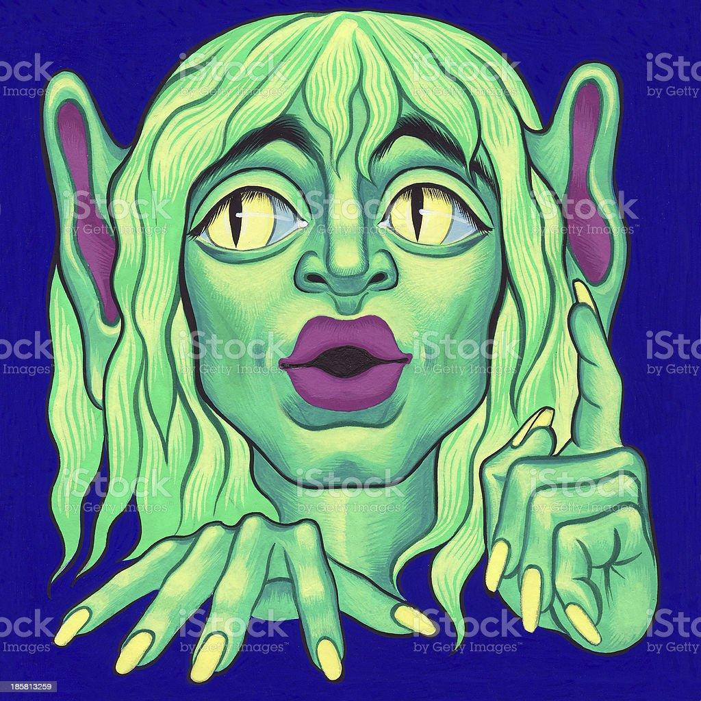 Green goblin vector art illustration