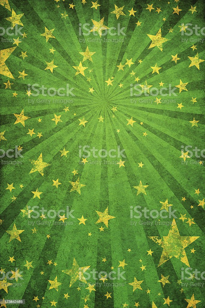 green grunge background with stars and rays royalty-free stock vector art
