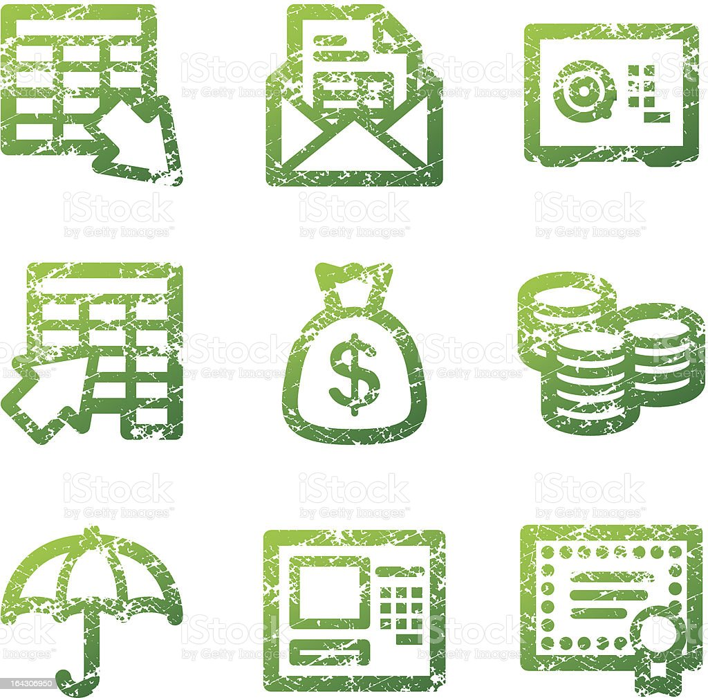Green grunge banking contour icons V2 royalty-free stock vector art