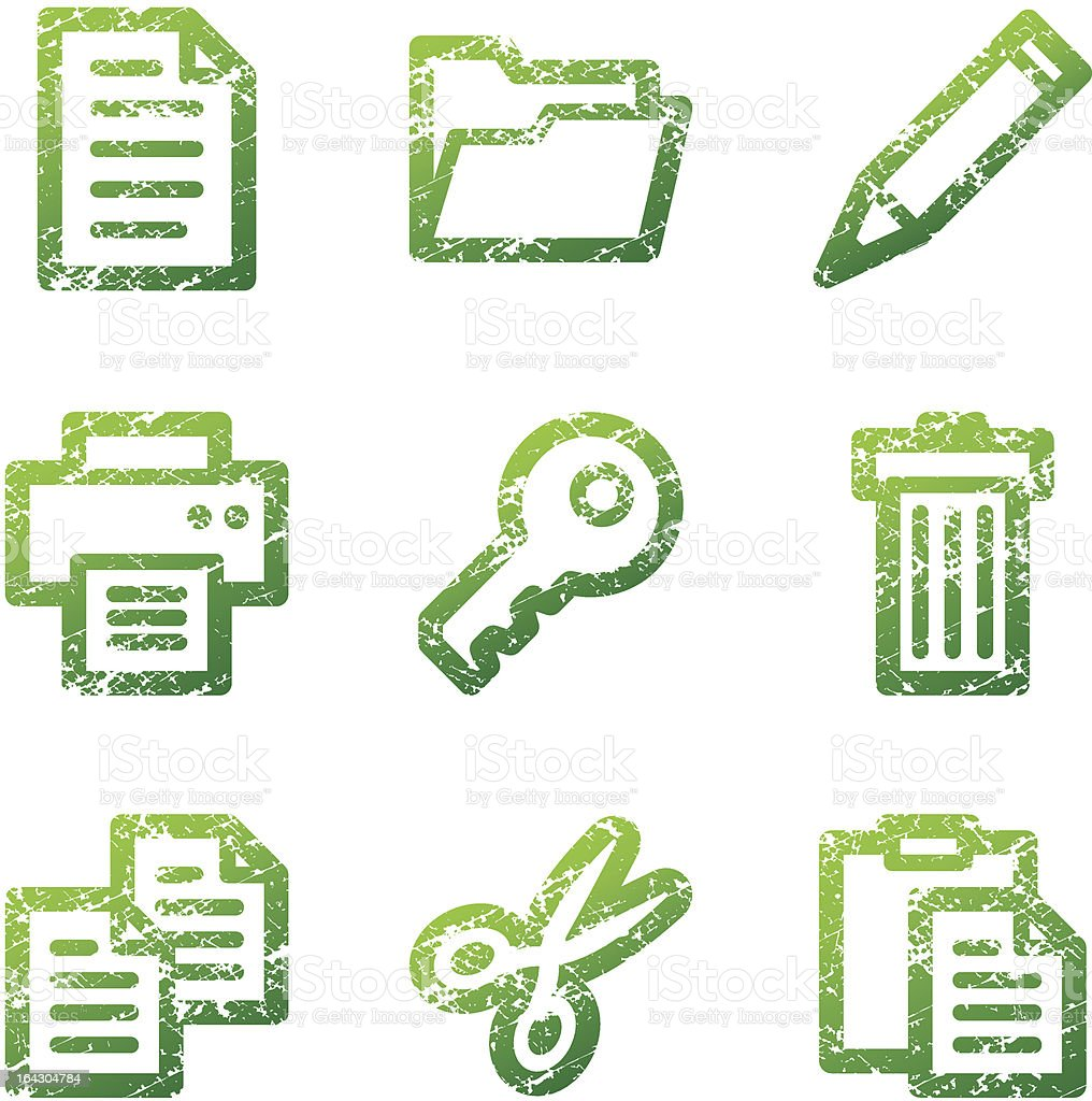 Green grunge document contour icons V2 royalty-free stock vector art