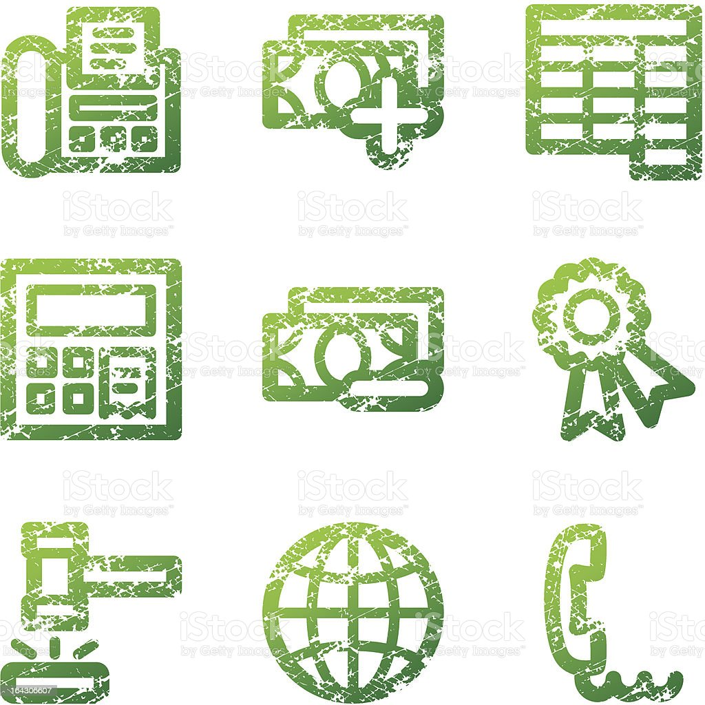 Green grunge finance 2 contour icons V2 royalty-free stock vector art