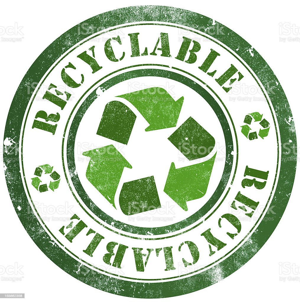 A green grunge stamp relating to recycling royalty-free stock vector art