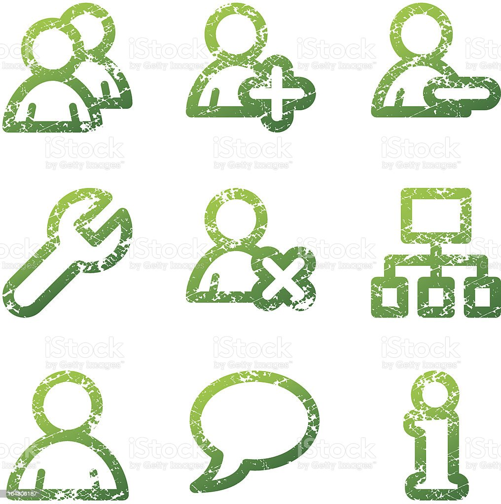 Green grunge users contour icons V2 royalty-free stock vector art