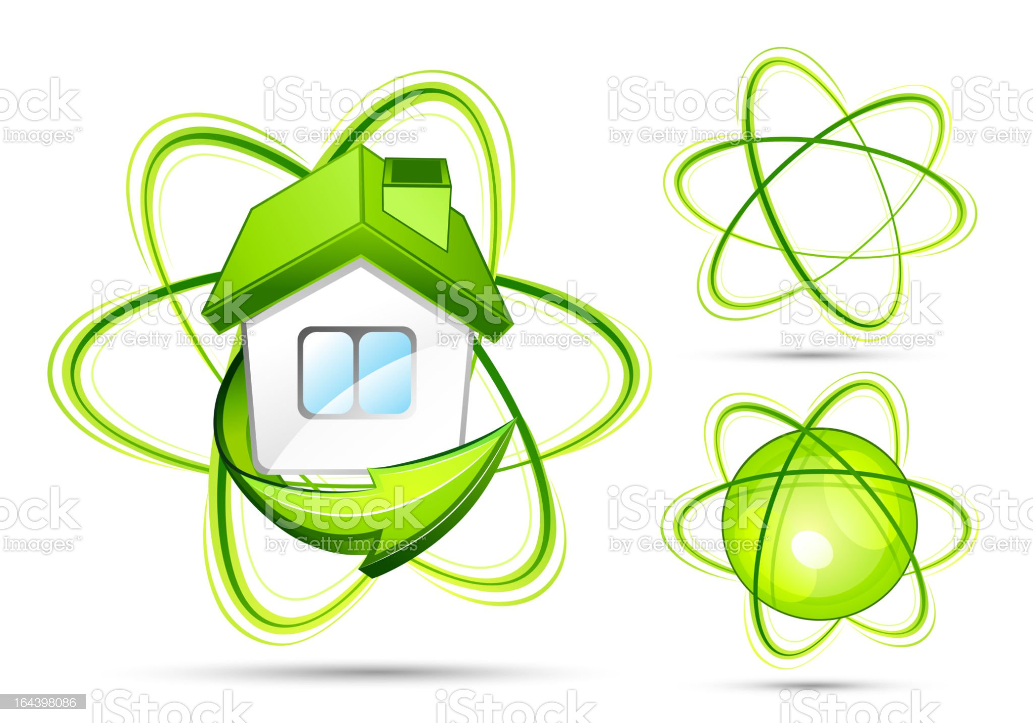 Green house with elements. Business logo royalty-free stock vector art