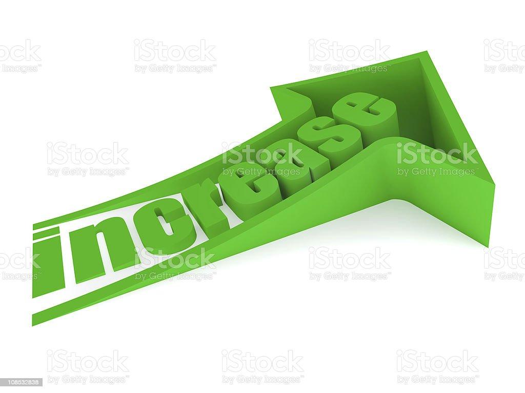 Green increase text inside arrow royalty-free stock vector art