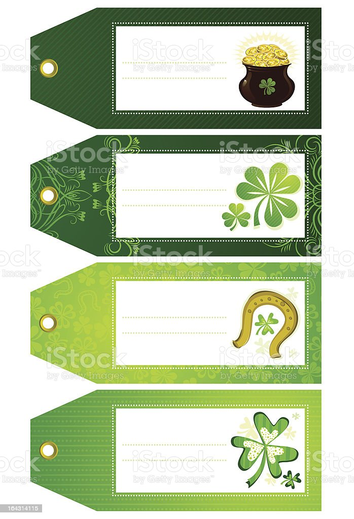 green labels with shamrock royalty-free stock vector art
