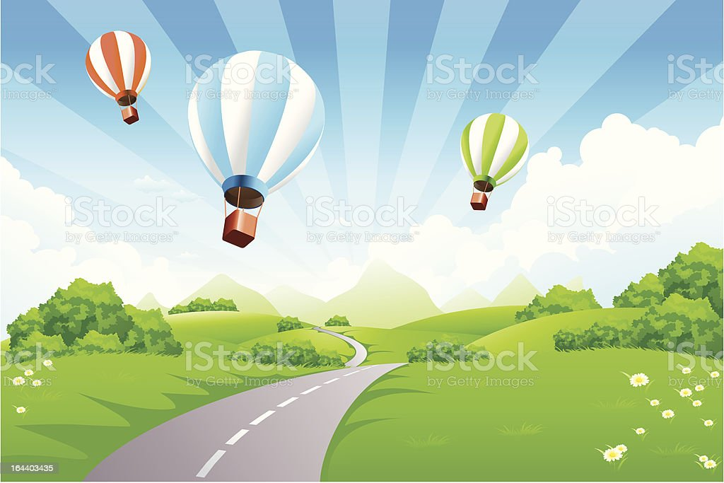 Green Landscape with Balloons royalty-free stock vector art
