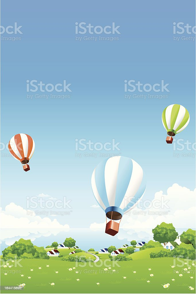 Green Landscape with Hot Air Balloons royalty-free stock vector art