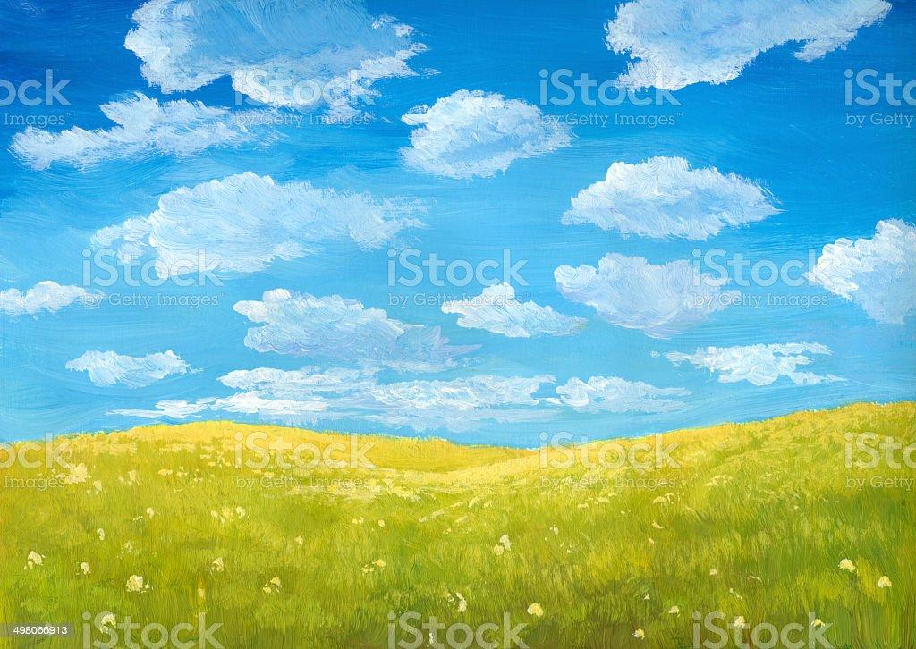 Green Meadow vector art illustration