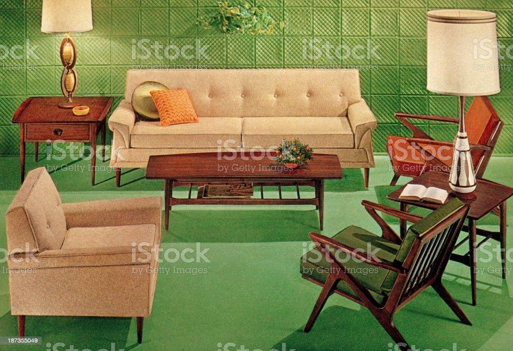 Green Mid-Century Living Room vector art illustration