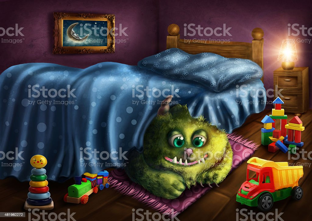 Green monster vector art illustration