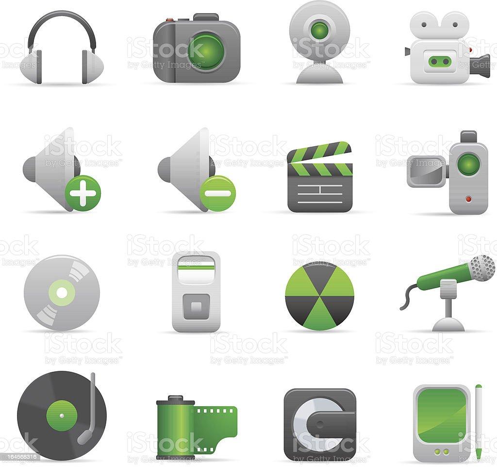 Zielone ikony multimedialne stockowa ilustracja wektorowa royalty-free