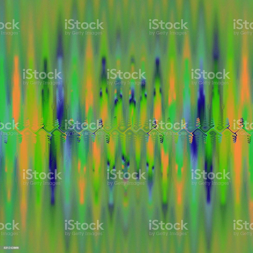 Green orange blue magical underground cave fractal image vector art illustration
