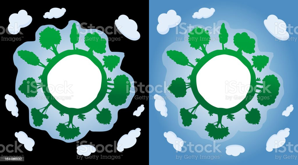 Green planet with trees and atmosphere royalty-free stock vector art