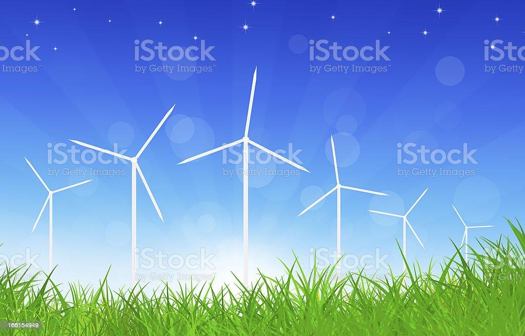 Green Power Wind Turbines royalty-free stock vector art