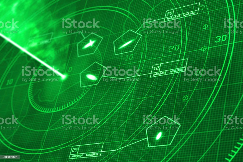 Green radar display with identified targets vector art illustration